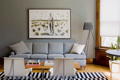 "Always leave 5-8"" above a sofa when hanging art."