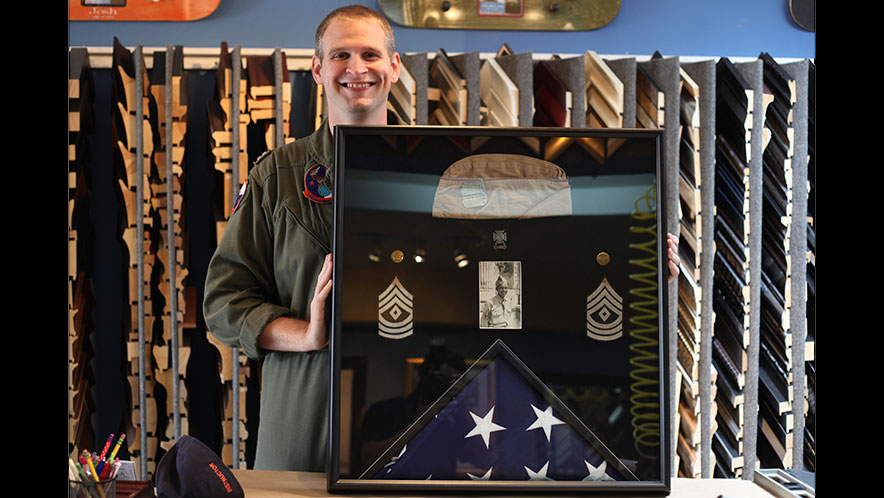 We are honored to do so much work for our military. Here's a special project we did for this gentleman. He wanted us to create a shadow box to preserve his Granpa's memorabilia, including a U.S. flag. We built a triangular frame for the flag, which we then attached to the final rectangular frame. We are proud of how it came out, and he loved it!