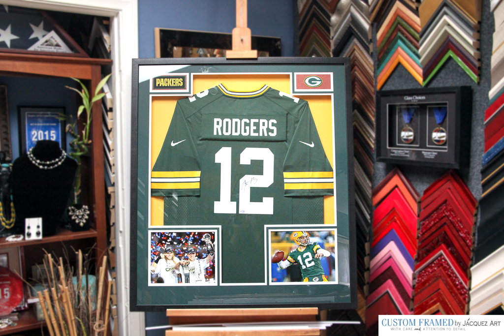 Aaron Rodgers Signed Jersey custom framed by Jacquez Art