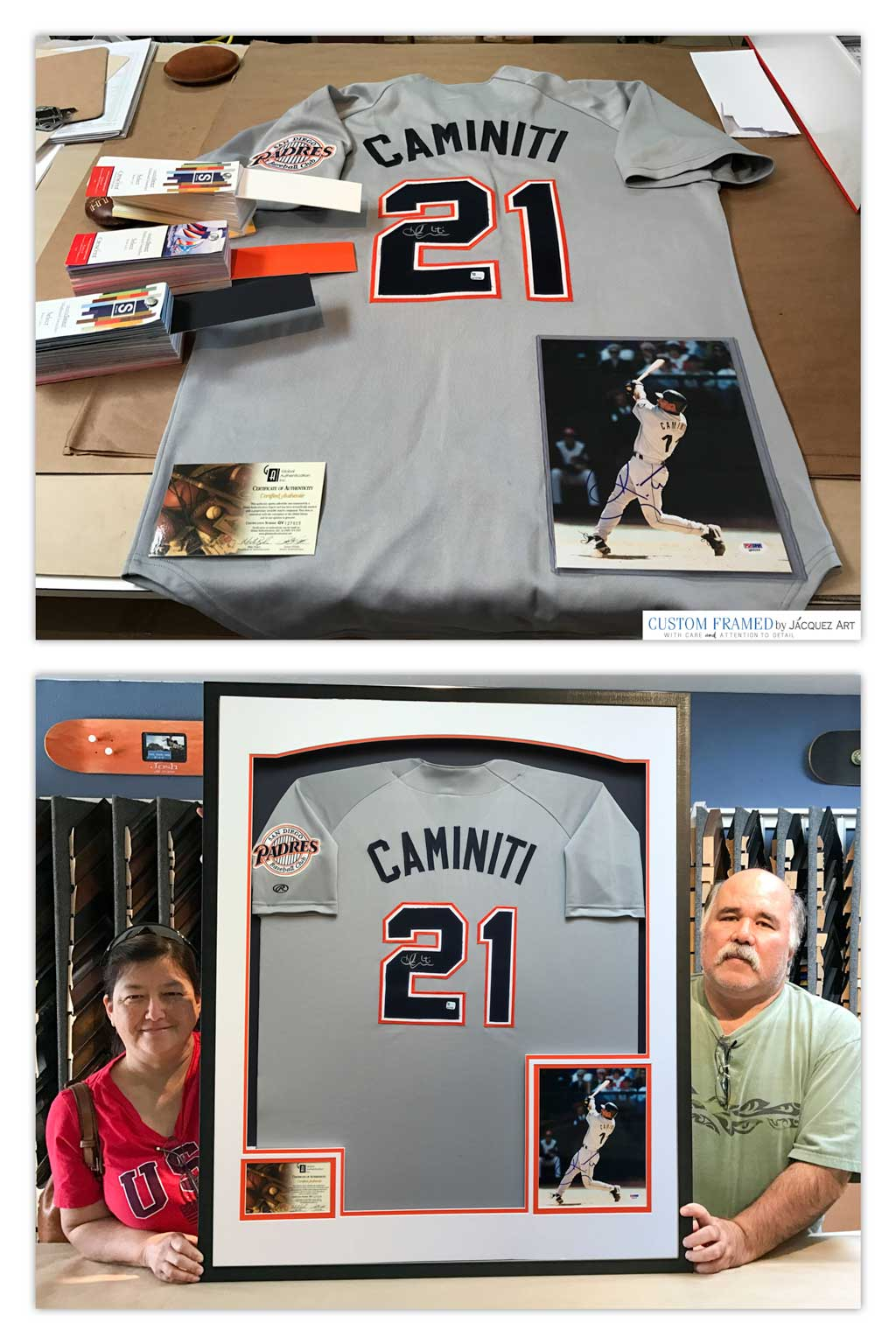 Our latest Custom Framed Jersey. Signed San Diego Padres' Ken Caminiti. We used the official San Diego Padres mat colors and included a signed photo and certificate of authenticity, as well as UV protection glass. Customer loved it!