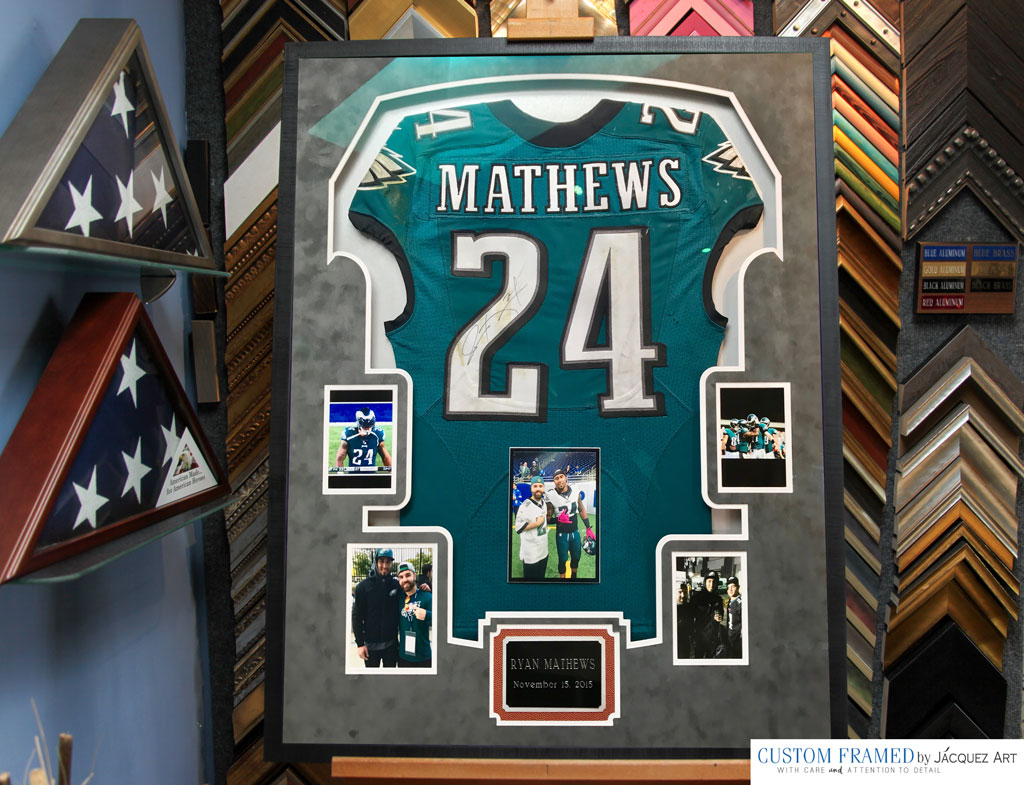 game-worned-jersey signed and custom framed with photos and a plaque
