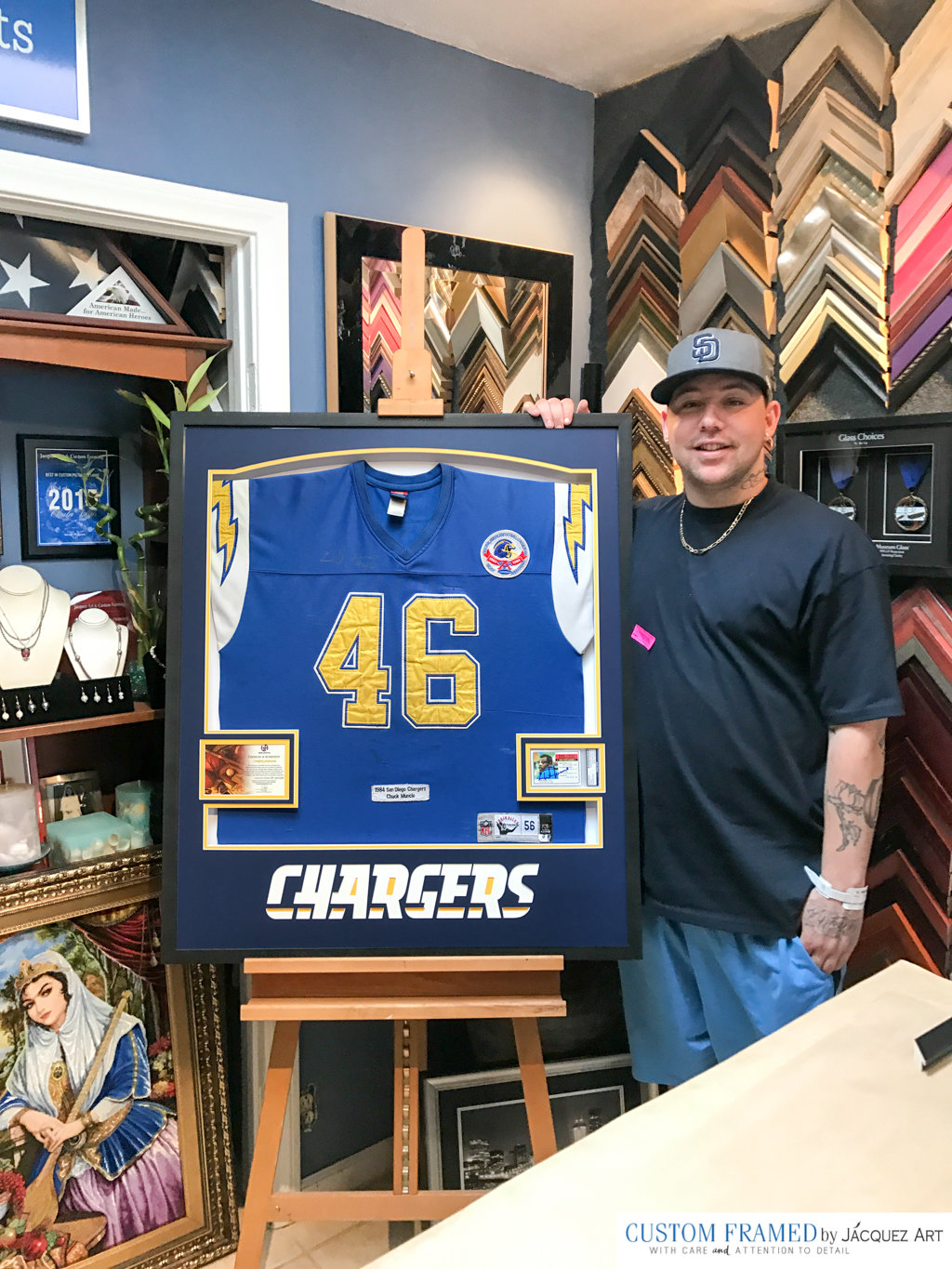 Professionally Framing a San Diego Chargers Throwback Jersey