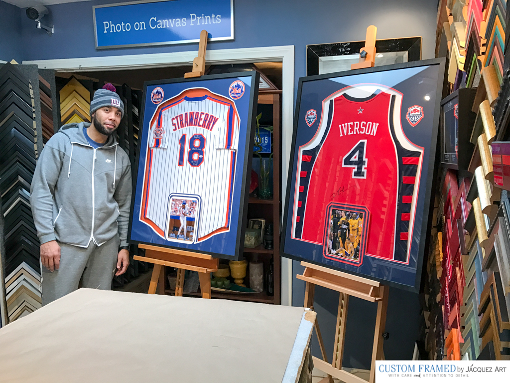 Framing a signed NBA Basketball Jersey, with Photos and Team logos