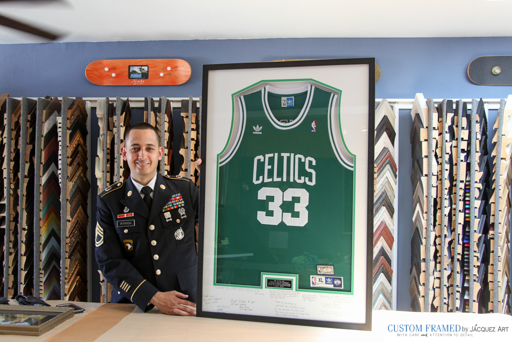 Boston Celtics Larry Bird Jersey Custom Framed -