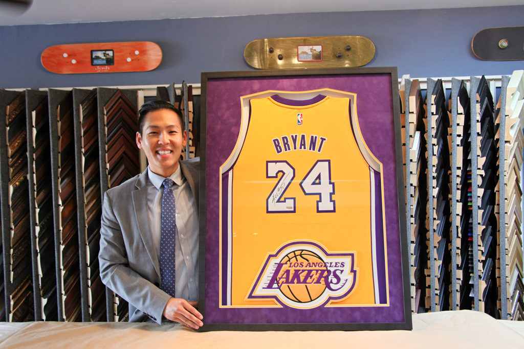 "Customer Loved it! Here's what he said on Yelp ""I came here to get my Kobe Bryant signed jersey a fully customized frame, and I met with RJ (and his wife) to discuss the details. During the consultation, RJ was very helpful and patient; he offered me a variety of options and ideas for my frame without being pushy on certain items. After ironing out the details, I drove back home and had a change of heart. I emailed RJ on his day off asking for his advice and he quickly responded to my email and happily agreed to my change. Finally, when I came to pick up the frame, I was shocked--it looked AMAZING! It could not have turned out any better. RJ is great at his craft and really enjoys it (which means he makes great products). All in all, I recommend Jacquez Art & Custom Picture Framing to everyone. RJ's customer service and work product are among the best."""