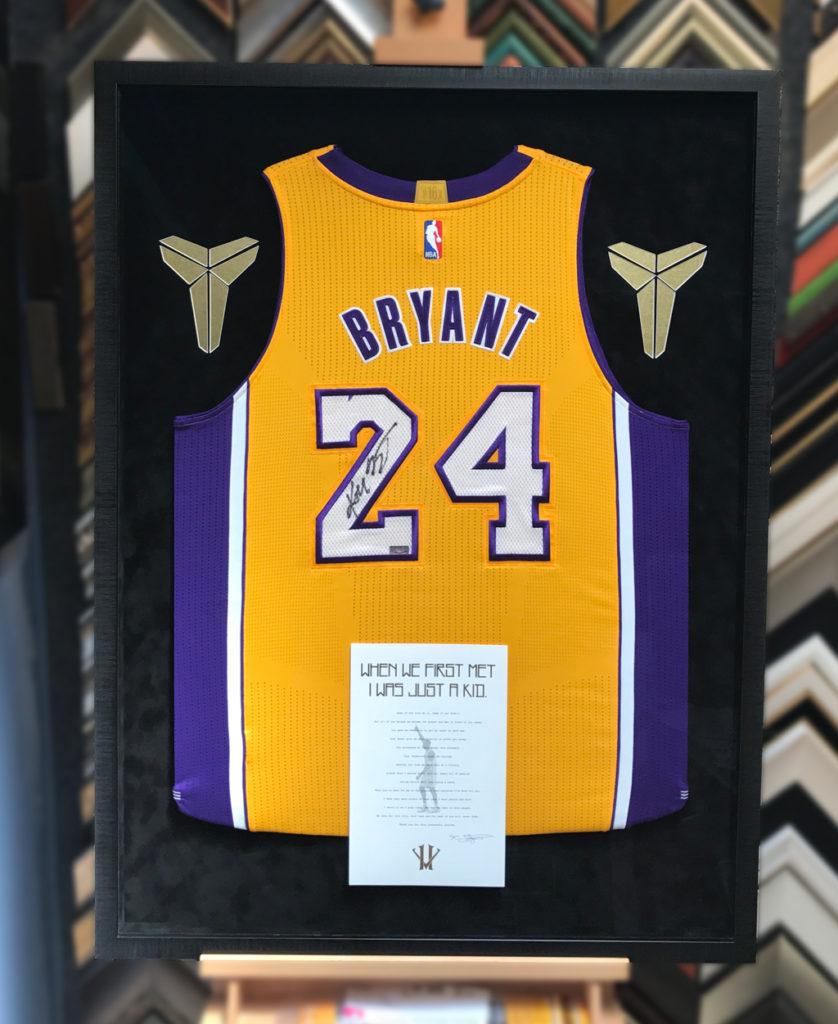 big sale 85cad 2ade4 4 Ways to Frame a Signed Kobe Bryant Jersey - Jacquez Art ...