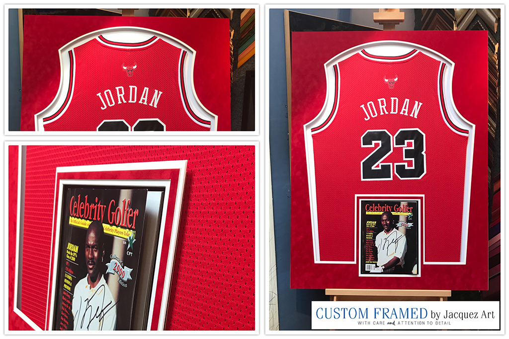 new arrival b7af5 755c2 Michael Jordan Jersey Framed with Magazine - Jacquez Art ...