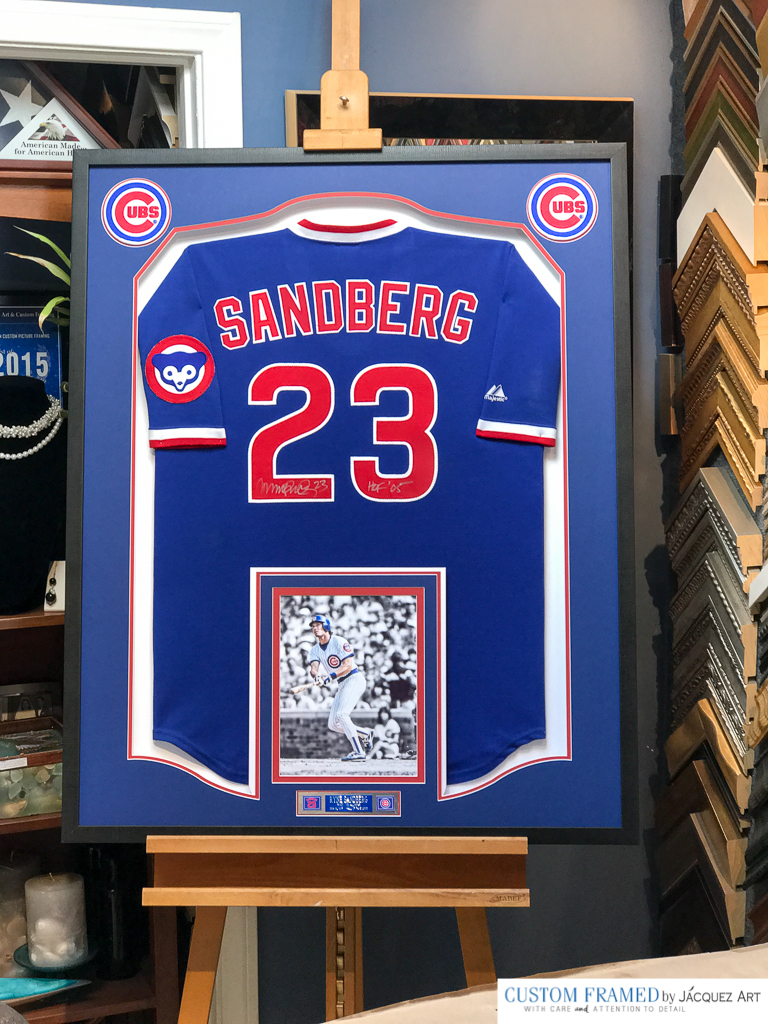 Ryne Sandberg Cubs Signed Jersey Framed by Jacquez Art