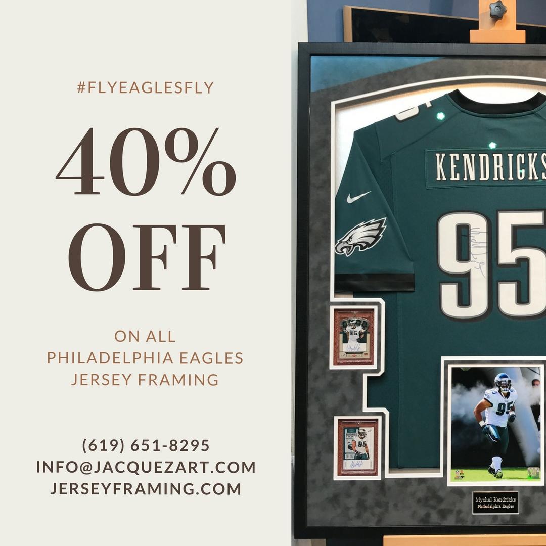 40% Of Eagles Jersey Framing - Jacquez Art & Custom Framing