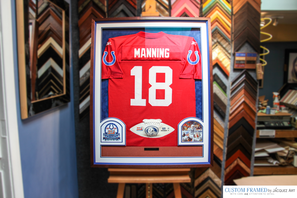 Peyton Manning Jersey Custom Framed with Photos and Superbowl ball
