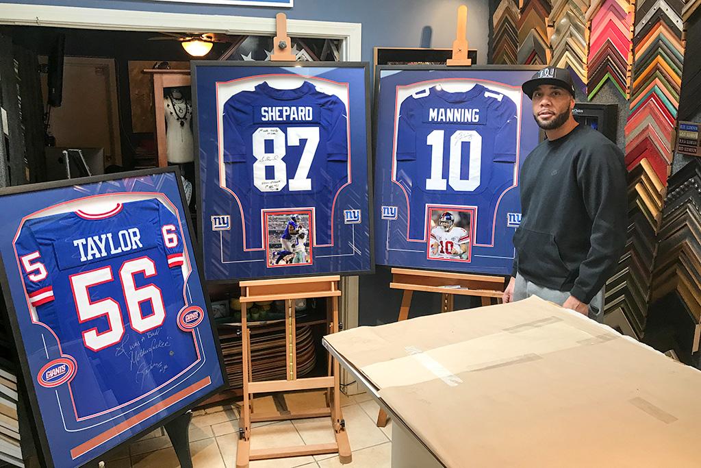 3 New York Giants Jerseys Custom Framed by Jacquez Art