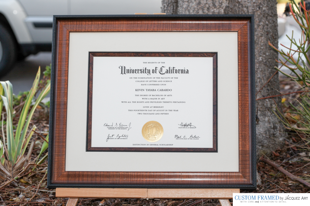 Diploma Custom Framing - Our most popular diploma custom framing style, includes frame with matching fillet, mat and museum glass.