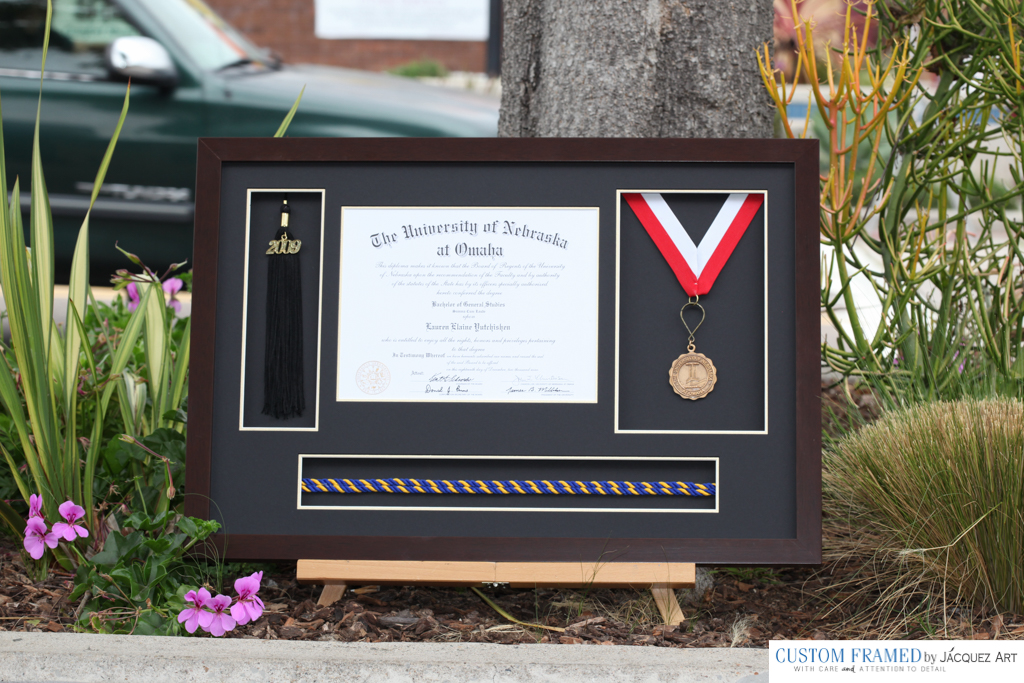 finished diploma frame with tassel and medal - Diploma Tassel Frame