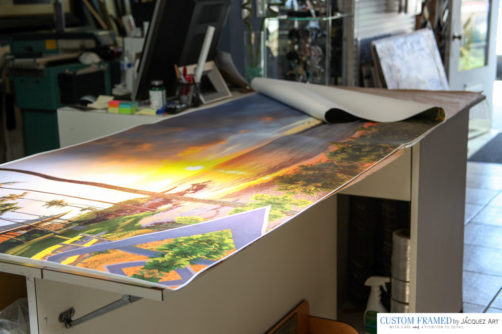 "BEFORE: One of the Largest Canvas Arts we have stretched at 91"" x 31."" An amazing Hawaiian Sunset Photo on Canvas Art. They loved it and sent us a photo of where it hangs in their home!"