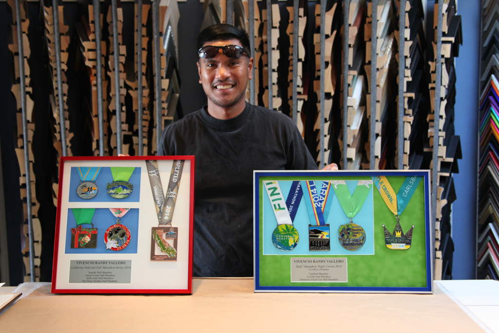 Marathon Medals Custom Framed by Jacquez Art