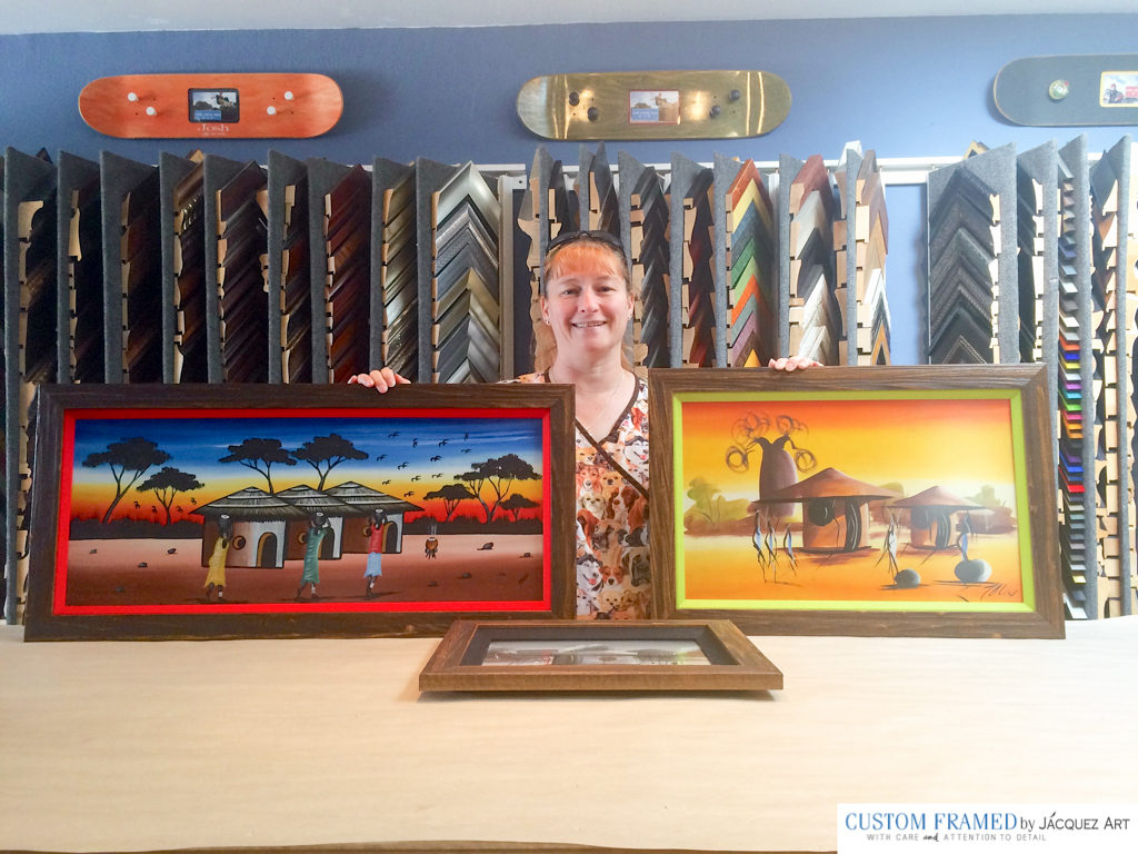 AFTER: We used two frames stacked for all three of her paintings. The inside frames were bright fabric liners. She loved all three.