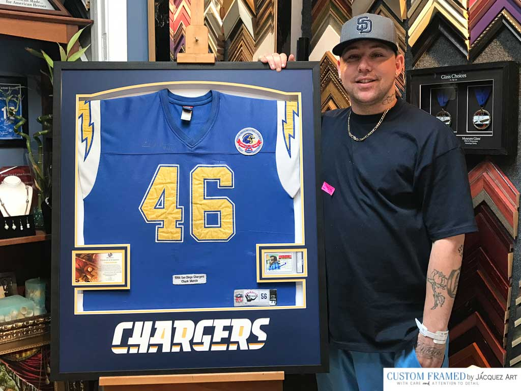 Customer Picking up his Chargers Jersey