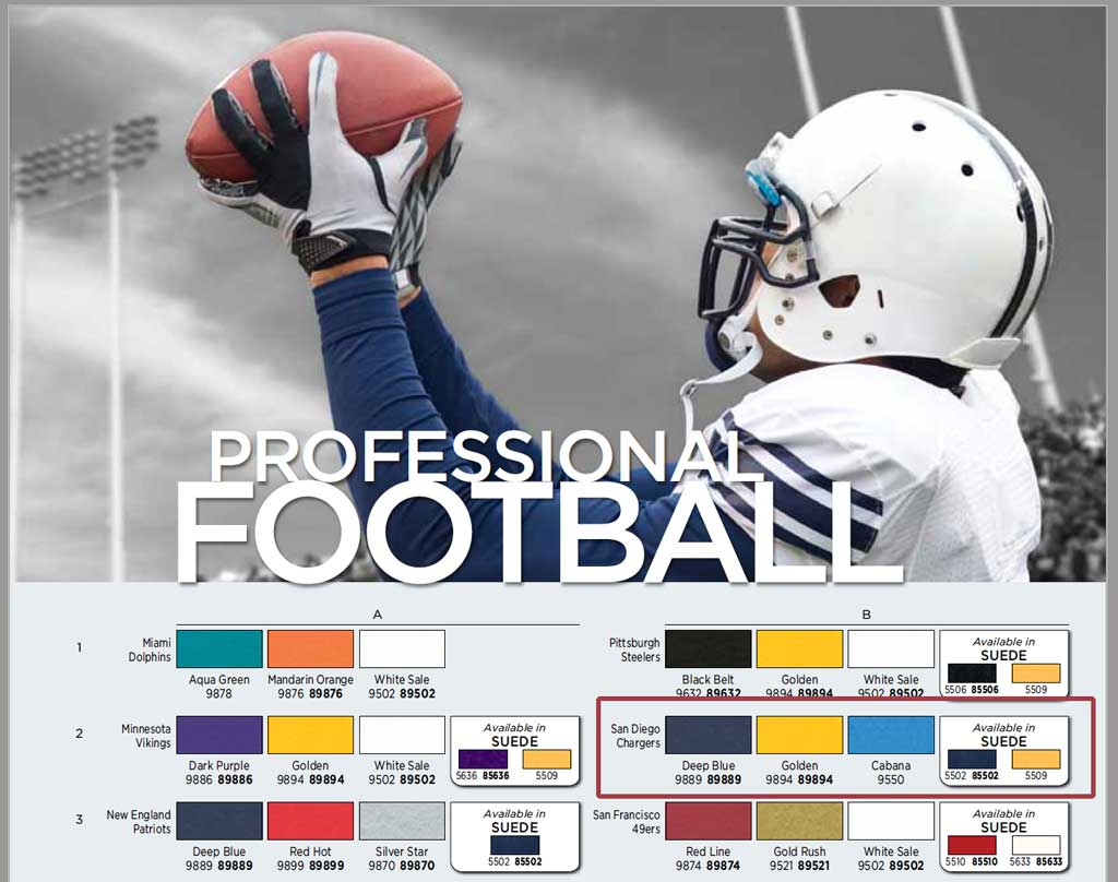San Diego Chargers Official Framing Mat colors