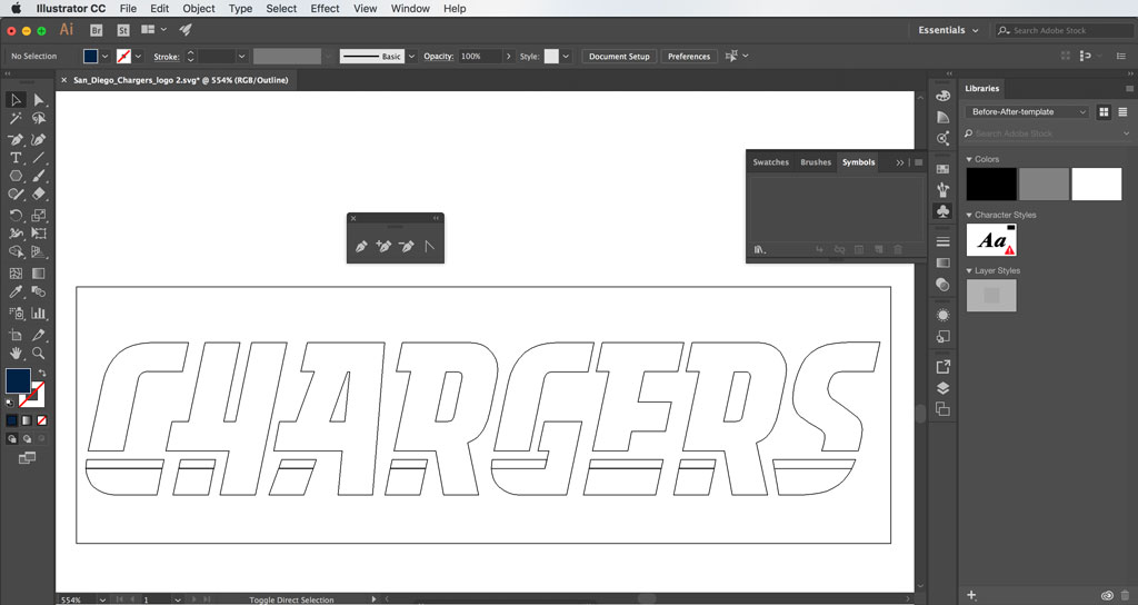 San Diego Chargers Logo in Adobe Illustrator