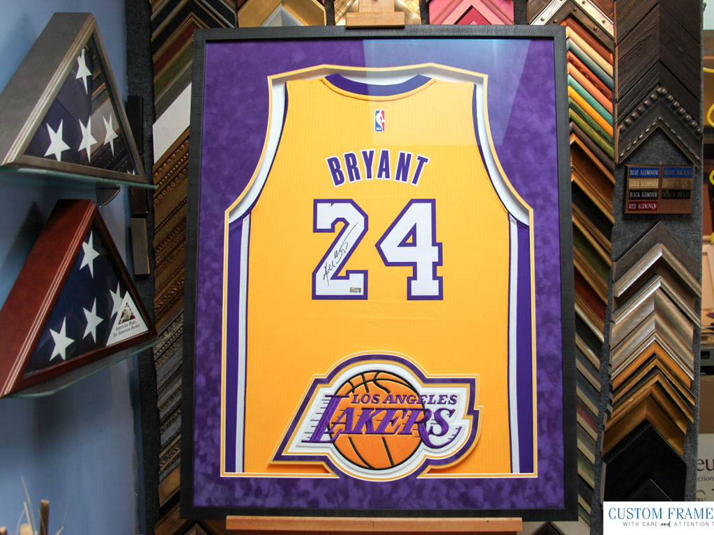 dbe1ce45dff  2 Framing a Signed Kobe Bryant Jersey with Retirement Letter and Black  Mamba logos