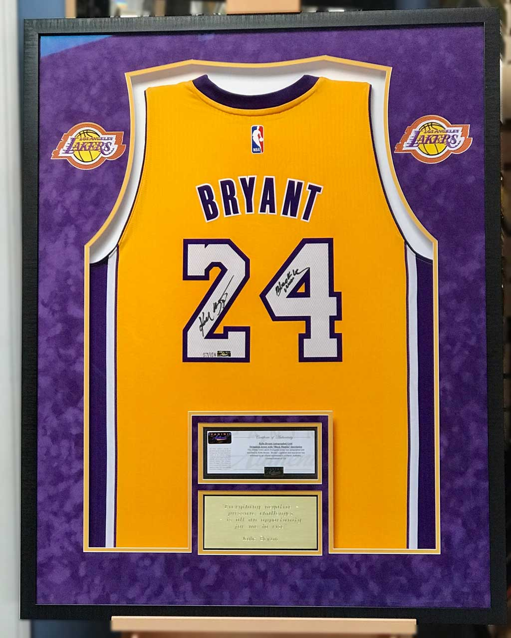 388de61d68a 4 Ways to Frame a Signed Kobe Bryant Jersey - Jacquez Art   Custom ...