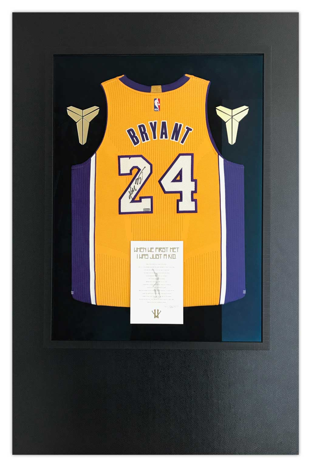 519ff86fe45 Framed Kobe Bryant Jersey up on the wall with snakeskin vinyl
