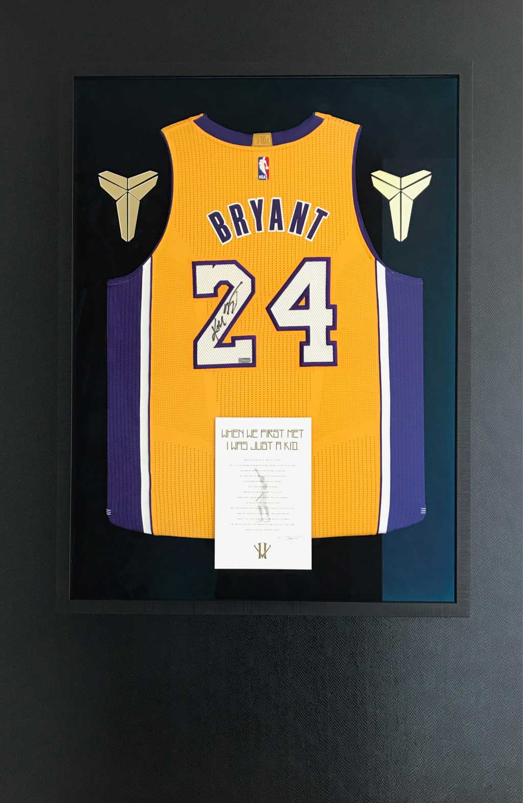 3 Framing A Signed Kobe Bryant Jersey With Two Small Patches Coa And Metal Plaque