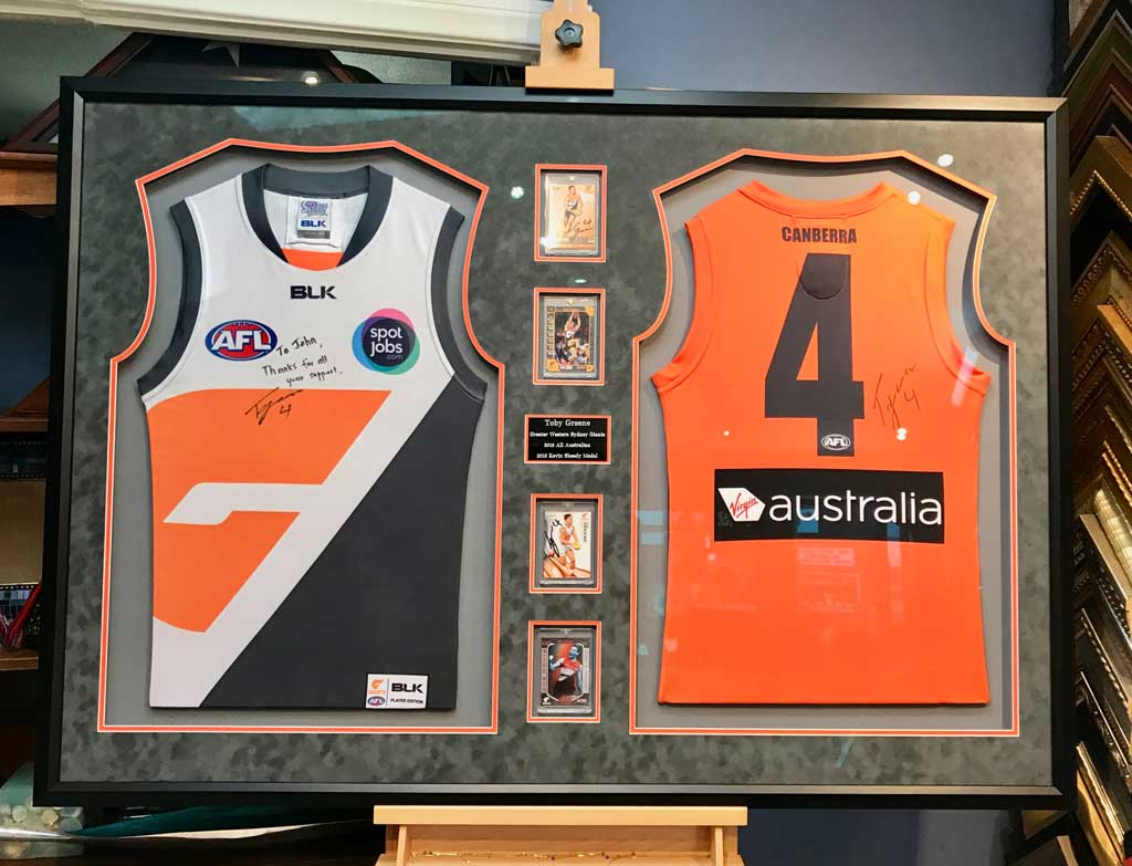505e21203 Jacquez-Art-AFL-Two-Jerseys-in-One-Frame - Jacquez Art   Custom Framing