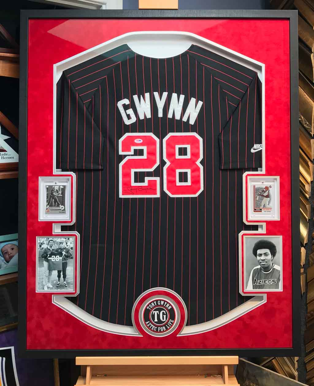 Jersey Framing by Jacquez Art - Tony Gwynn Signed Jersey with Cards, Photos and Patch