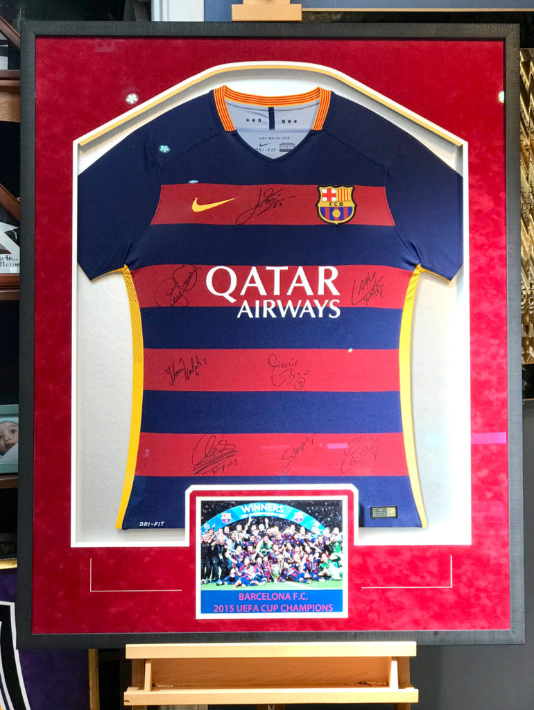 FC Barcelona Signed Jersey Framed with Jacquez Art with Team PHoto