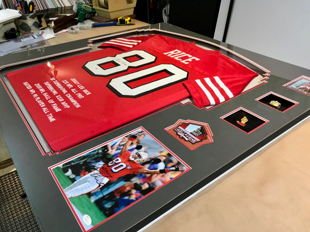 Jerry Rice Framed Jersey by Jacquez Art